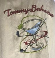 TOMMY BAHAMA  Men's Sz L Silk Shirt Martini Cocktail & Golf Embroidered