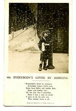 Lonely Child-Boy on City Street Corner-Snow-RPPC-Vintage Real Photo Postcard