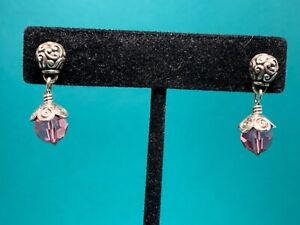 """🌸 Brighton Silver With Pink Crystal """" Glass Mountain"""" Dangle  Earrings 🌸"""