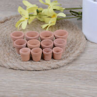 12Pcs Dollhouse 1:12 miniature flower pot handmade red clay pot garden homeA mi