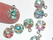 2pc Lot Swarovski AB Rainbow crystal hoop bail dangle Pendant charm 39ss 9mm lg