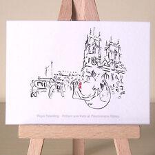 William e Kate Royal Wedding disegno ACEO cartolina artistica a Westminster Abbey Londra
