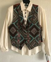 ROUGHRIDER WOMEN'S SZ L SOUTH WESTERN NATIVE AMERICAN VEST & BLOUSE NEW