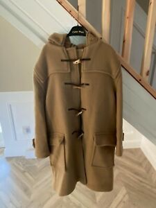 Vintage BURBERRY 90s Wool Speciality Duffle Coat Hooded Jacket Beige | Large
