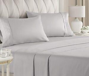 CGK Unlimited 8541811754 Luxury Bed Sheet Set - 4 Piece, Gray
