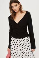 Topshop Solid Peplum Wrap Sweater Top Size 12