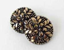Vintage Czech Flower Buttons Gold Black Glass Sewing Shank 22mm