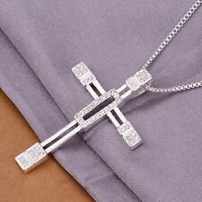 Unisex Men's Women's 925 Sterling Silver Necklace Cross Zirconia B10