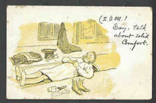 Ca 1908 PPC*  2 AM Talk About Solid Comfort Sleeping In A Coffin? Mint