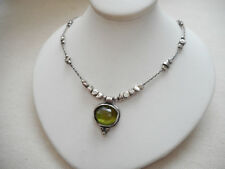 Silpada Lightly Oxidized Sterling Silver Green Glass Necklace N1461  454613
