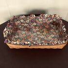 """Longaberger 1997 Large Hostess 20"""" Serving Tray Basket and Protector Petunia"""