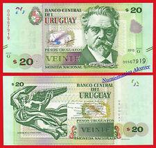 URUGUAY 20 Pesos uruguayos 2015 (2017) Pick NEW MAP SC / UNC