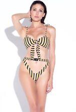 Matte Collection Farrah Bikini 2 Two Piece Swimsuit Cut Out Yellow Black White