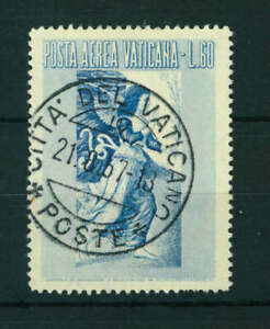 Vatican 1956 Airmail 60L blue stamp. Used. Sg 232