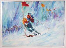 ORIGINAL Oil Painting - Winter Sports Skiing Lodge Art Painting - BARNES - LARGE