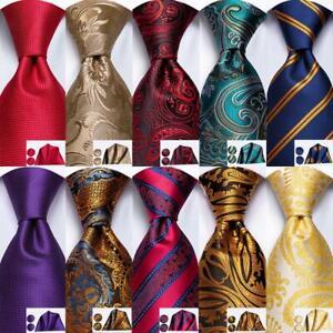 HT Classic Paisley 249 Color Red Blue Grey 100 Silk Necktie Mens Tie Set Wedding