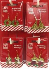 Christmas Metal Earrings Assorted Designs Tree Holly Party Decoration Santa Fun