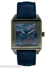 GUESS BLUE,VIOLET PURPLE PYTHON LEATHER+GUNMETAL TONE+CRYSTAL DIAL WATCH U0051L1