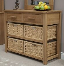 Nero solid oak furniture basket hall console table with felt pads