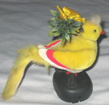 "Yellow 6"" Chirping Bird Music Box sings ""London Bridge is Falling Down"" w Motion"