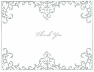 Silver Classic Scroll Scrollwork Blank Note Cards - By Hallmark - Set of 14