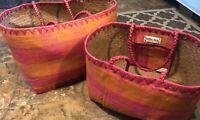(2) Annabel Ingall Woven Pink Orange Large Medium Raffia Nesting Baskets Totes
