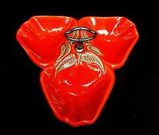 """CALIFORNIA POTTERY USA #717 RED STRAWBERRY THREE PART 11"""" DIVIDED DISH"""