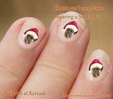 BOXER Fawn Christmas Santa Hat Set of  24 Dog Nail Art Stickers Decals