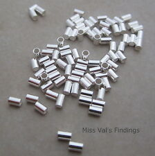 50 3mm x 2mm sterling silver crimp bead tube 1mm inner diameter