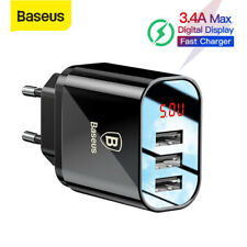 Baseus LED 3.4A Multi Port Wall Charger Adapter Travel Fast Charging For Samsung