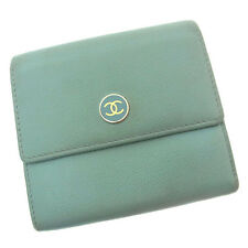 Chanel Wallet Purse Coco Button Blue Gold Woman Authentic Used Y2638
