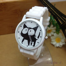 Newest Design Black Cat Watch Silicone Jelly Wrist Watches for Womens Girls