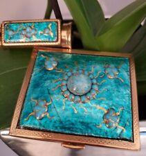 New ListingVintage Rare Brevete Paris France Compact Case Turquoise & Lipstick Case Mirror