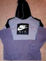Men's Vintage Nike Air Pullover Hoodie Gray Black Size Large L