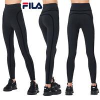 FILA Womens Juhi Taping High Waisted Black Gym Sport Active Fitness Leggings
