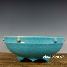 "9.2"" China Song Dynasty Ru Kiln Blue glaze Ice crack Pattern Drum nails Pen wash"