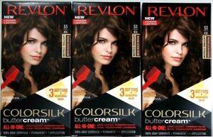 3 Revlon 53 43G Medium Golden Brown Vivid Hair Color Colorsilk Buttercream