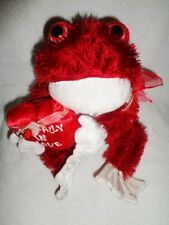 "Frog Red White Toad-ally in Love Valentine Heart 16"" Dan Dee Stuffed Plush Rare"