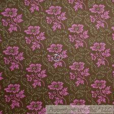 BonEful Fabric Cotton Quilt Brown Pink Flower Girl Rose Antique Grandma SCRAP