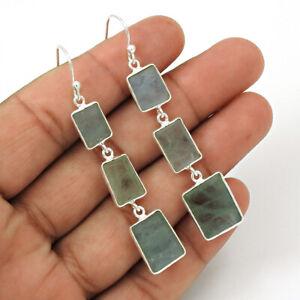 Cushion Shape Aquamarine Gemstone Dangle Earrings 925 Sterling Silver Jewelry C5