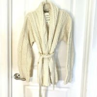 Carraig Donn Irish Merino Wool Shawl Collared Belted Cardigan Sweater Size L NWT