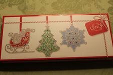 Lenox Merry And Bright Shimmer Iridescent Ornaments.Set of 3.Color Crystals.Nib.