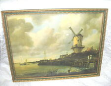 ANTIQUE FRAMED DUTCH WINDMILL PICTURE THE OLD MILL