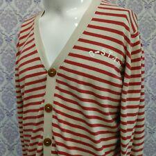 G Star Raw Aboard Cardigan Mens XL Red Beige Nautical Stripe Slim Fit Cotton