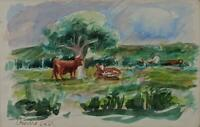 WILLIAM CROSBIE (1915-1999) Watercolour Painting COWS IN LANDSCAPE 1966