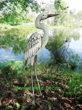 Egret Garden Pond Statue Metal Coastal Bird Sculpture Crane Heron Yard Art ~New