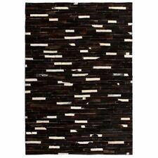 vidaXL Tapijt Streep Patchwork 160x230 cm Echt Leer Zwart/Wit Vloer Kleed