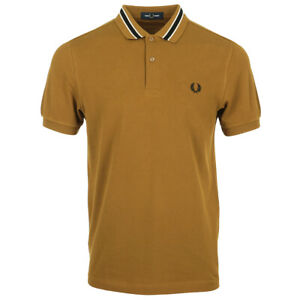 Vêtement Polos Fred Perry homme Tramline Tipped Polo Shirt taille Marron Coton