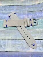 QR - 20mm Lt. Gray Handmade Vintage Suede Leather watch band strapQuick Release