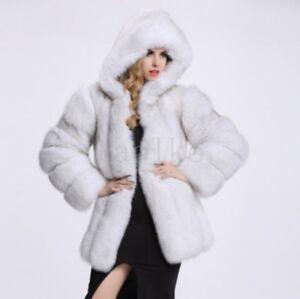 Womens Luxury faux Fox Fur Short Jacket Outwear Warm Fashion Hooded Coat Jacket#